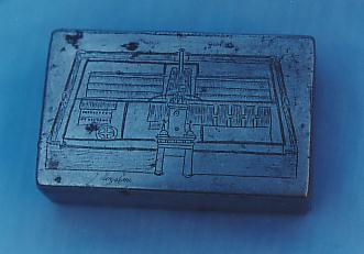 A birds eye view of Changi engraved on the back of a tin. Tins were made in last few months of war 1945.